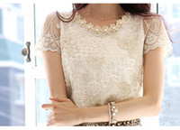 Wholesale 2014 new Fashion spring Summer women s chiffon lace top beading embroidery o neck blouse G0500