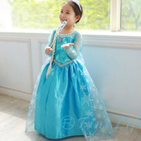 TuTu Summer Ball Gown 2014N 3pcs lot Frozen queen Snow Romance elsa princess dress Elsa & Anna Movie Cosplay Costume kids baby girls Blue Dress party clothes