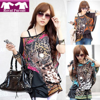 Women Sashes Regular blouse Women Wild Tiger Leopard Print 3 Colors Sexy Naked Shoulder Chiffon Cool Fashion Tide Women T- Big Size(with the belt)14016