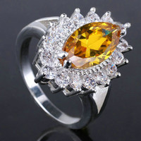 With Side Stones Women's Wedding infinity Lady Yellow Citrine Pure Sterling 925 Silver Ring R044