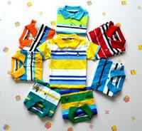 Wholesale Hot Fashion Polo T Shirts Childrens Clothing Stripe Short Sleeve T shirt Polo Shirt Boys Casual Summer Outwear Free Ship C2117