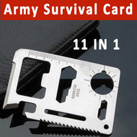 Containers Yes OEM Free Shipping 11 in 1 Emergency Outdoor Army Survival Card Hunting Survival Kit Pocket Credit Card Knife