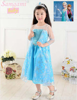 Wholesale frozen princess clothing girls guaze dress frozen princess party dress frozen elsa snow queen costume dress D76