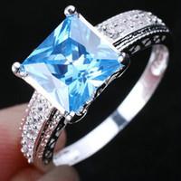 Wholesale Jewelry Women s Pure Sterling Silver Ring Blue Topaz Sz R080