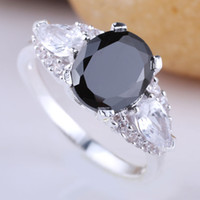 With Side Stones Women's Wedding Man Ladies Oval Pear Shape 3-stone Black Onyx 925 Sterling Silver Ring R081