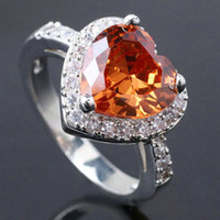 With Side Stones Women's Wedding Lady Sterling 925 Silver Ring Brown Citrine 10Mm Heart Gift For Lover R089