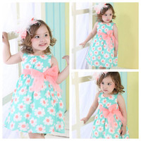 Wholesale Brand fashion kids clothing Manufacturers Lace Decoration Flower Double Layer with pink bowknot baby girl dresses PC