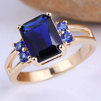 Wholesale Lady Oblong K Gold Filled Blue Sapphire Pure Sterling Silver Ring R093