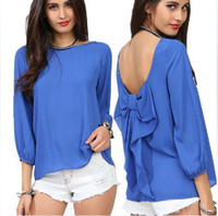 Wholesale 928 European Style Fashion Women Spring And Summer Chiffon Loose Backless Bow Pattern Blouse