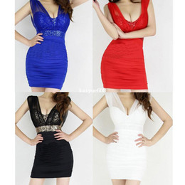 Wholesale Sexy Low Cut Backless Sequin Empire Waist Sleeveless Mesh Mini Club Party Dress colors Red Black Blue White Free Ship