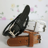 Wholesale BSI Pack of Imitate Leather Mix Black White Brown Bracelet Bangles with Belt for Ladies
