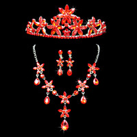 Jewelry Sets Rhinestones Rhinestone 2014 New Hot Fashion High Quality Selling Retro Red Metal Lobster Claw Clasp Rhinestone Earclip Jewelry Set For Bridal Gown Free Shipping