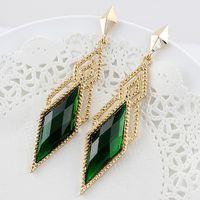 Dangle & Chandelier big earrings - Mother s Day Gift Latest rhombus design big rhinestone long drop alloy earrings