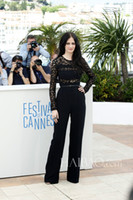 Wholesale 2014 th Golden Globe Awards Eva Green In Elie Saab Women Jumpsuits Black Crew Neckline Long Sleeves Custom Made Union Suits