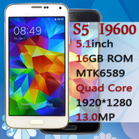 Wholesale S5 i9600 Quad Core SM G900 GB RAM GB ROM Smart Cell Phone MP Quad Core Inch IPS Heart Rate Android OTG G smartphone