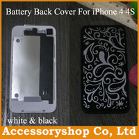 Wholesale iPhone S Glass Rear Cover Case Replacement Back Battery Door Housing Repair Parts for iPhone4 S High Quality White amp Black DHL