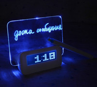 Bamboo Alarm Clocks Yes Free Shipping Blue LED Fluorescent Message Board Digital Alarm Clock Hub Calendar Night light 95256