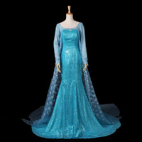 Wholesale Luxury Customized Frozen Elsa Princess Dress Cosutme Movie Cosplay Costume Sky Blue One Piece Adult Kid Children