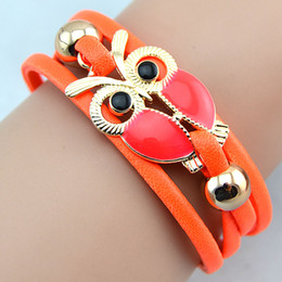 Hot Cheap Infinity Bracelets Leather Bangles Handmade Wrap Bracelet Owl Charms Leather Bracelet 7 Colors Free Shipping