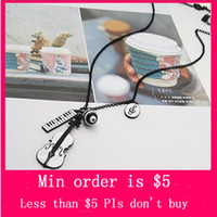 Pendant Necklaces alloy keyboard - Min Order Mix Jewelry order Mini Cute Violin Keyboard Pendant Necklace Sweater Chain color N0063