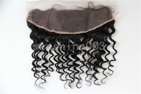 Wholesale Hot Queen Hair Peruvian human virgin hair Deep Wave Lace Frontal quot remy hair no shedding g pc black Top Quality