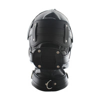 Wholesale New arrival Soft leather bondage hoods full cover bondage hood sex toy role playing gear adult novelty