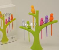 Wholesale New Arrival design plastic fruit trees birds fork cutlery Set sets