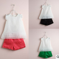 sweet tee shirts - 2014 Summer Children Sweet Fly Sleeve Vest Outfits Kids Leisure Solid Sets Baby Girls White Sleeveless Tee Shirts Short Pants I0965