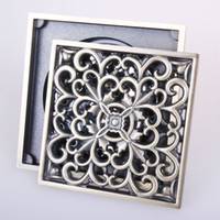 Wholesale Chinese Style Vintage Art Carved Bathroom Shower Drain Anti odor Floor Drain Trap Waste Grate With Hair Strainer