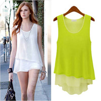 Crew Neck blouse free size - 2009 summer women new fashion candy color irregular plus size chiffon blouses ladies girls sexy dress tops S XL Drop ship