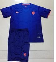 Soccer Boys Short High quality Netherlands World Cup Home Kids Soccer Jerseys Matching Shorts Best Quality Cheap Youth Football Jerseys Children's Team wear