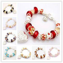 Fashion 925 Silver Women's Bracelet Bangles Jewelry Shiny Europe Bead Ball & Lovely Heart Pendant Bracelet Bangles 30pcs Free Shipping