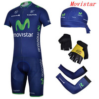 Wholesale 2014 new Movistar limited edition comfortable Outdoor Uniforms short sleeve sets amp arms amp gloves amp headband