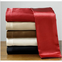 Wholesale Sexy Soft skin SATIN SILK BED SHEET PILLOWCASES WEDDING BEDDING SETS King Queen Full size silk home textile sabanas bed linen silk bed sheet