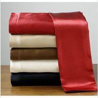 Silk / Cotton silk sheets - Sexy Soft skin SATIN SILK BED SHEET PILLOWCASES WEDDING BEDDING SETS King Queen Full size silk home textile