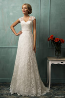 A-Line Reference Images Jewel Amelia Sposa 2014 Lace Wedding Dresses A-Line Crew Neckline Cap Sleeves Sheer Covered Back Cathedral Train Bridal Gown With Sash