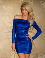 Wholesale 5 Color Plus Size M L XL Sexy Brand Long Sleeve Bodycon Club Dresses Off the Shoulder Mini Bandage Dress Purple red blue black silver LS806