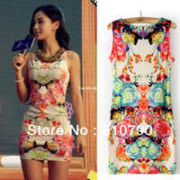 Wholesale Hot Sale Women s Floral Print Sleeveless Clubwear Party Cocktail Vintage Sexy Mini Dress Prom Dresses