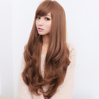 Wholesale Fashion Europe and America style wig high temperature synthetic wire oblique bangs hairstyle long curly blonde hair wigs for women