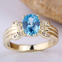 Wholesale Lady Round K Gold Filled Blue Topaz Genuine Sterling Silver Ring R112
