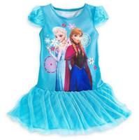 Wholesale Girls Frozen Dress Lace kids Frozen Princess Dress Blue Anna Elsa T Shirt Dress cc632