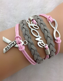 Wholesale Infinity Wish Love and Breast Cancer Awareness Charm Bracelet in Silver Breast Cancer Awareness hy1210