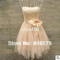Wholesale New women bridemaid dress bow strapless dress halter straps evening dress purple champagne with tape as gift