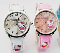 Wholesale Low Price Watches For Children New Design Pink Leather Watch with pink Hello KT Fashion Watches Children Gift