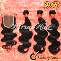 "Brazilian Hair Body Wave 10-30 inch Free Shipping!Mix 4pcs lot Brazilian Virgin Human Hair,3 Bundles hair weft And 1pcs Middle Parting Closure(3.5""x4"") Body Wave Hair Extension"