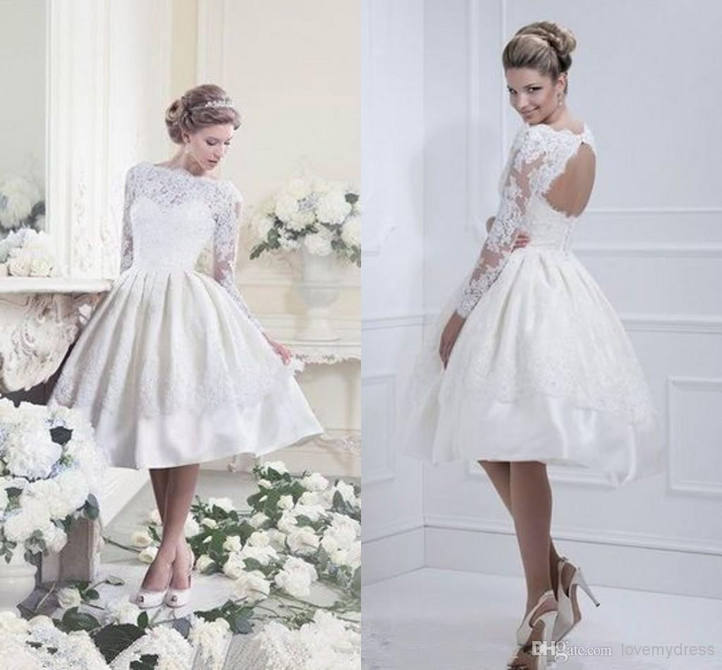 Top Selling Modest Short Wedding Dresses With Long Sleeves