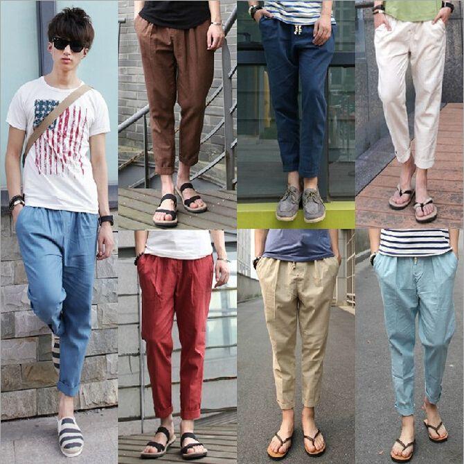 2017 New 2014 Mens Pants Baggy Pants Pantyhose Style Linen Men'S ...