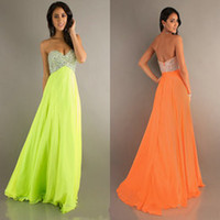 2014 Lime Green Chiffon Empire Beaded Prom Pageant Dresses B...