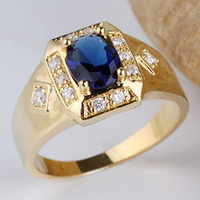 Wholesale Yellow Gold GP Solid Sterling Silver Ring Blue Sapphire Men Wear R117