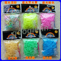 Big Kids Multicolor Rubber Hot DIY Rainbow Loom glow in the dark Refill Bands Bracelet for kids DIY (600 pcs bands + 24 pcs C S -clips ) 6 Colors Free DHL